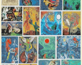 Marc Chagall artwork collection  - 331 x 441 stitches - Cross Stitch Pattern Pdf - INSTANT Download - B1240
