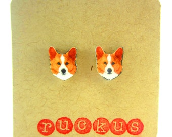 Corgi Stud Earrings, Corgi Jewelry, Corgi Gift, Dog Lover Gift, Pet Lover Gift, Pet Earrings, Pet Jewelry, Post Earrings, Dog Earrings