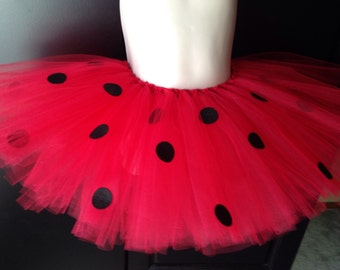 Children's Tutu - Red Ladybug Tutu with Ribbon with Optional Wings