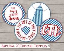 """Baptism Cupcake Toppers- LDS 2"""" Circles, Decoration Digital Printable Party Decor Red Blue Primary Choose the Right Boy Stripe Tag"""