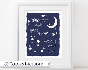 Wish Upon A Star - Digital Wall Art Print PRINTABLE Dreams Come True Moon Star Fairytale Nursery Boys Bedroom Decor Typography Bright Colors
