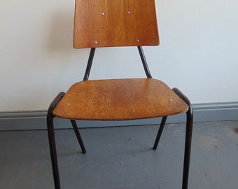 Vintage 1950's School Stacking Chairs. Mid Century Salvaged Reclaimed Full Sized School Chair