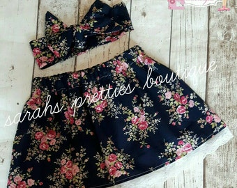 Girls handmade navy floral skirt and headwrap set 1-2 - 2-3 yrs