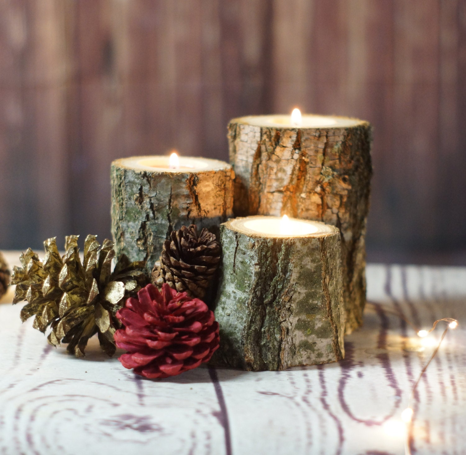 Fall log candle holder rustic home decor farmhouse candle for Rustic house candles
