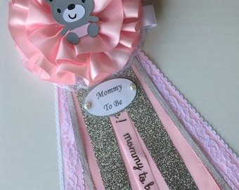 Pink  grey bear baby shower corsage/Girl baby shower corsage/Pink ands silver baby shower corsage/Mommy to be corsage/Elegant baby shower