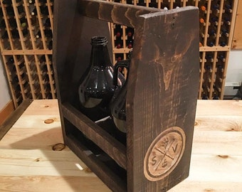 Growler Tote - Growler Carrier - Handmade Wood Beer Carrier - Beer Caddy for Man Cave