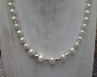 Pearl necklace on 925 Silver fancy design! Very precious!