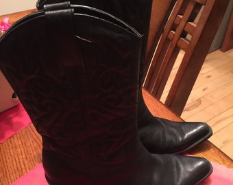 Ladies Black Leather Cowboy boots 7.5