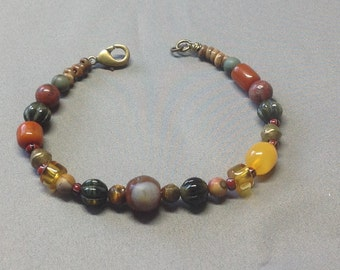 Bracelet- Trade, Stone and Amber beads