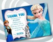 ON SALE 30% Disney Frozen Thank You Card - Frozen Thank You Note - Disney Frozen Thank You - Elsa Thank You Card - Anna Thank You Card