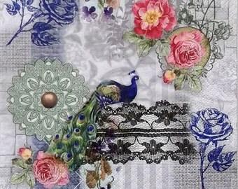 Set of 2 pcs 3-ply ''Peacock'' paper napkins for Decoupage or collectibles 33x33cm, Roses napkins, Floral napkins, Servietten, Servetten