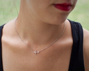 Tiny CZ Sideways Cross Necklace in Silver - One of a kind!