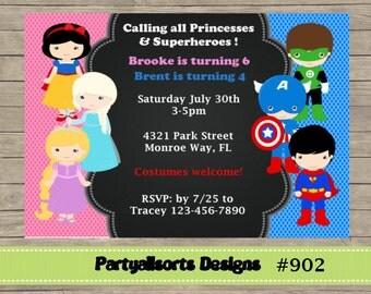 161 DIY - Princess and Superhero Party Invitations Cards.