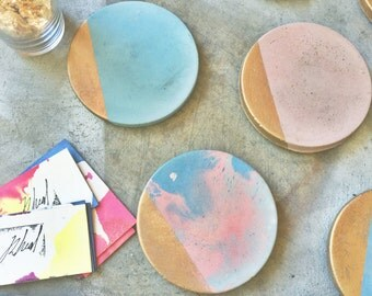 Blue & Pink Marbled Concrete Coaster with Gold (Set of Four)