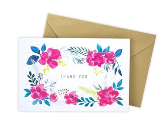 Thank You (Pink Floral) Greeting Card