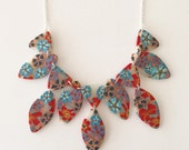 Handmade flower print necklace - polymer clay and silver chain