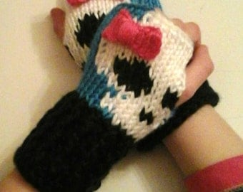Fingerless Gloves Wrist Warmers Monster High Cutie Skull Child Sizes