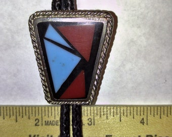 Bolo Tie with Turquoise, Red, and Black Glass
