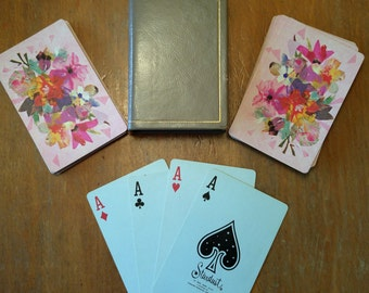 1960s Vintage Pink Floral Playing Cards with Gray Leather Case