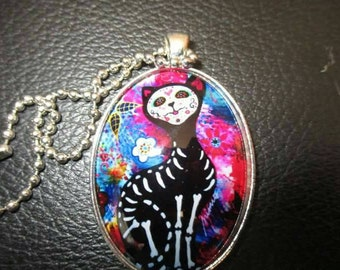 Day of the dead cat necklace