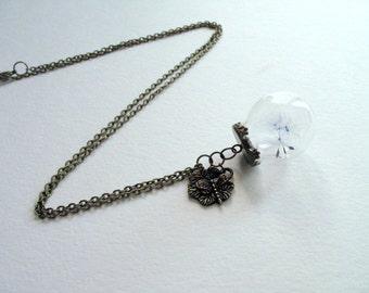 Dandelion necklace, dandelion orb necklace, Dandelion seed necklace, Make a wish Dandelion Seed Pendant, Dandelion wish necklace, Jewelry