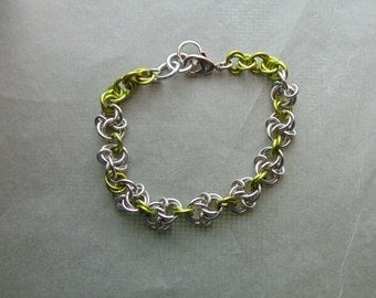 Celtic Spiral Knot with Lime Green Connectors Bracelet