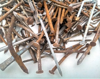 Assorted Reclaimed Rusted Metal Nails - Various-Sized - 3+ lb value pack!