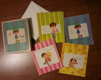 Box of 14 vintage birthday greeting cards in original box