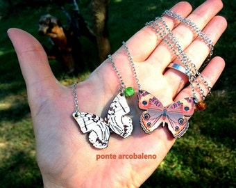 Butterfly Necklace/ wood/ decoupage/ jewelry/ gift/ for her