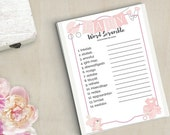 Baby Word Scramble Baby Shower Printable Instant Download Girl