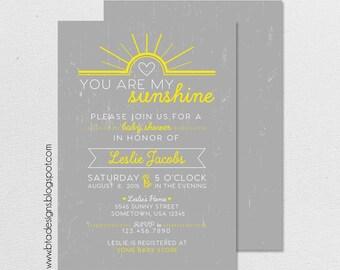 You Are My Sunshine Baby Shower Invitation, Customized, Digital