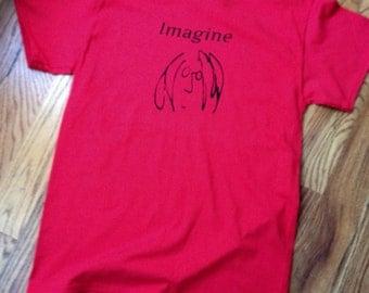 Imagine Screen Printed John Lennon inspired T Shirt
