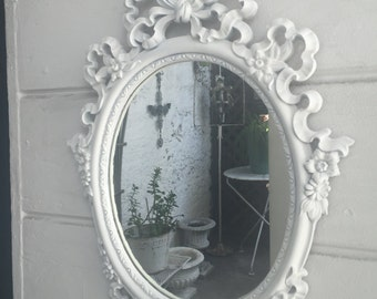Vintage Oval Shabby or Cottage Style Mirror~White