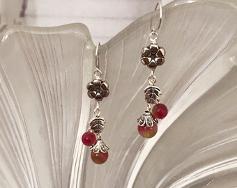 Dangling red chalcedony beads earrings handmade with sterling silver chain and tibetan silver beads