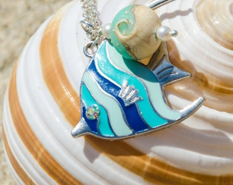 Fish necklace fish jewelry silver turquoise fish lampwork bead ocean necklace ocean jewelry zodiac sign fish Christmas gift beach necklace