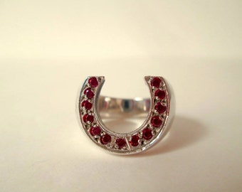 Horseshoe ring collection ruby red