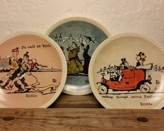Norman Rockwell Collector Plates Limited Edition Newell Pottery Co. Virginia Set of 3 Scenes from Rockwell 1927 On Tour in Europe