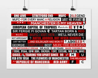 Old Trafford - Banners & Flags (A3 POSTER PRINT)