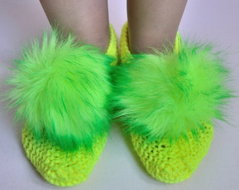 Hand knitted women's slippers with pompoms