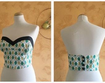 Vintage 50s Argyle Print Cotton Fabric Strapless Top - size S/M