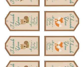 Woodland Creatures Baby Shower Favor Tags- Digital File- You Print