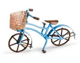 Blue, Yellow, Red, or Double Bike w/ Basket - Bicycle  Miniature Fairy Gnome Garden, Terrarium, Dish garden, Dollhouse, or Diorama accessory