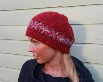 Icelandic Fair isle hat Knit hat Red wine color Folk pattern hat Norwegian hat Nordic Tweed Fine wool made Ready to ship