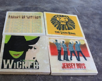 Broadway Coasters - Tumbled Tile Coasters - Personalized Broadway Coasters - Set of 4