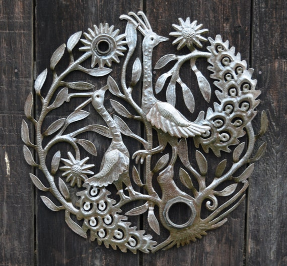 """Peacocks, Design incorporating the Lid of the Barrel, Metal Wall Art Recycled Steel Wall Art 23"""" x 23"""""""
