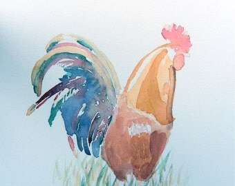 Original 9x12 Watercolor Painting - Rooster