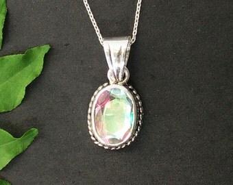 Exotic RAINBOW MYSTIC Gemstone Pendant, Birthstone Pendant, Fashion Handmade Pendant, 925 Sterling Silver Pendant, Free Chain, Gift Pendant