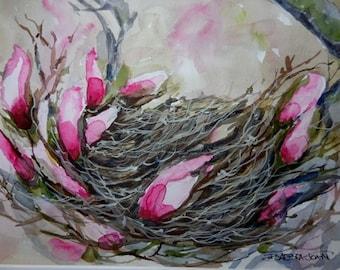 Birds Nest, original watercolor, Spring painting