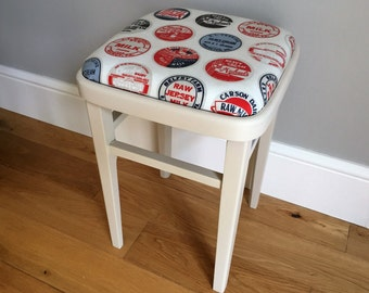 Vintage wooden kitchen stool - painted cream (delivery quote available on request)