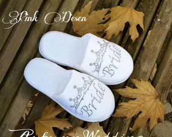 Brides Wedding Slippers, Honeymoon slippers - Velour slippers printed with rhineshine stones, Bridal shower